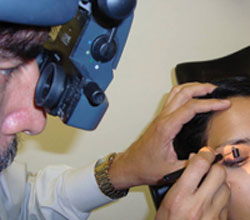 Dr. Gutierrez often uses a binocular indirect ophthalmoscope