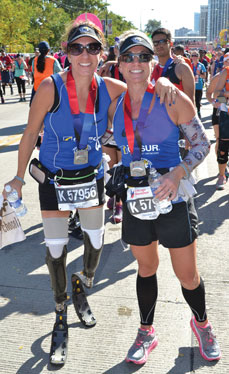 Jami Goldman-Marseilles, left, recently completed the Chicago marathon. She is pictured with her friend and running partner Molly Karl.
