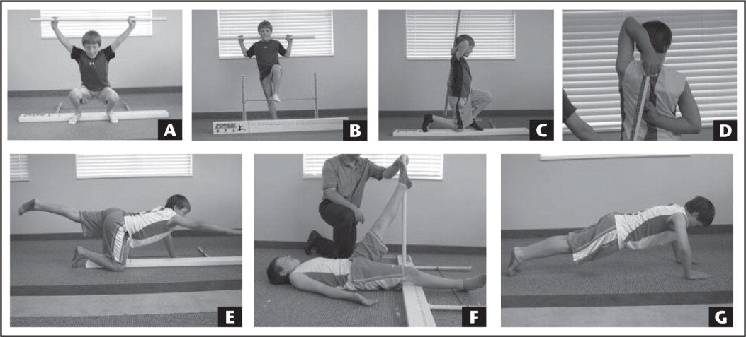 Examples of different functional movement screen tests: (A) deep squat, (B) hurdle step, (C) inline lunge, (D) shoulder mobility, (E) rotary stability, (F) active straight-leg raise, and (G) trunk stability push up.