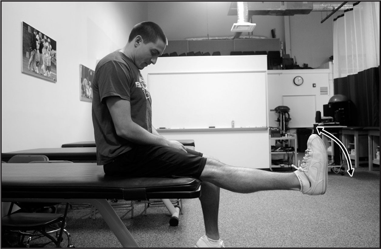 Tensioner performed in the Slump test position. Patient continually moves the ankle into dorsiflexion and plantarflexion in a controlled motion.