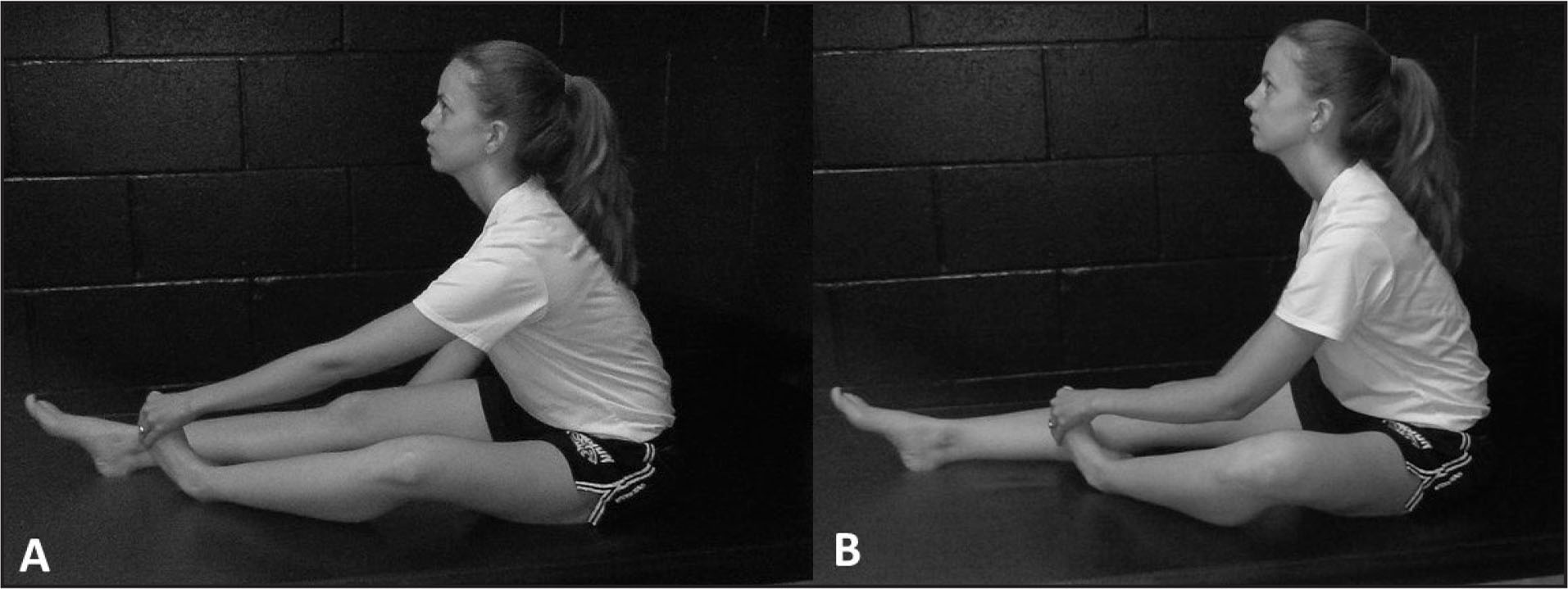 Example of peroneal slider with (A) knee extension and (B) knee flexion.