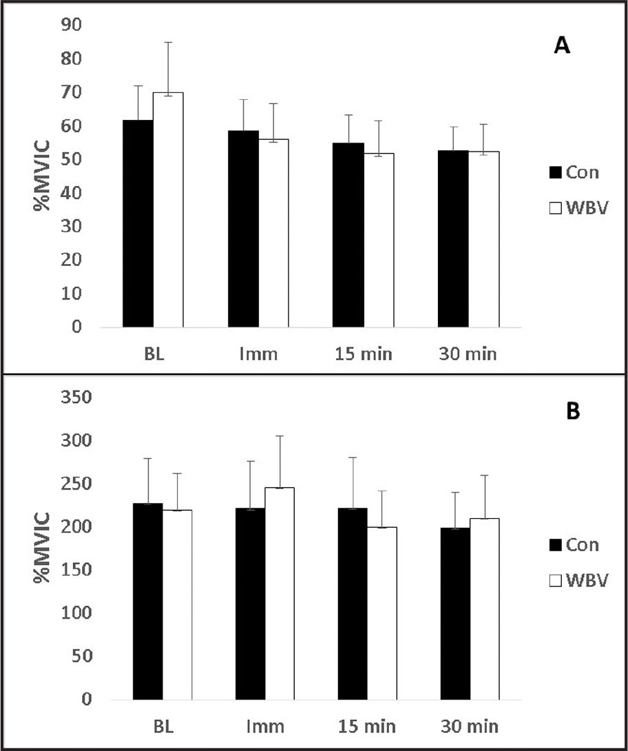 Effects of whole body vibration (WBV) on peroneus longus muscle (A) preparatory and (B) loading phase electromyography amplitudes. No significant differences were identified between measurement intervals or conditions. % MVIC = maximal voluntary isometric contractions; CON = control; BL = baseline; Imm = immediately