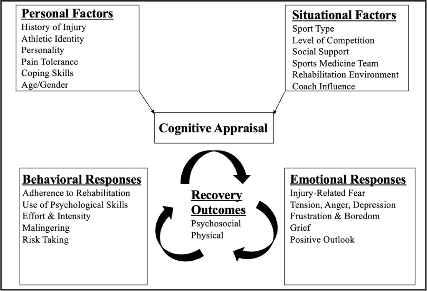 Cognitive Appraisal Model. Wiese-bjornstal DM, Smith AM, Shaffer SM, Morrey MA. An integrated model of response to sport injury: psychological and sociological dynamics. J Appl Sport Psychol. 1998;10(1):46–69. Reprinted by permission of the Association for Applied Sport Psychology, www.applied-sportpsychol.org