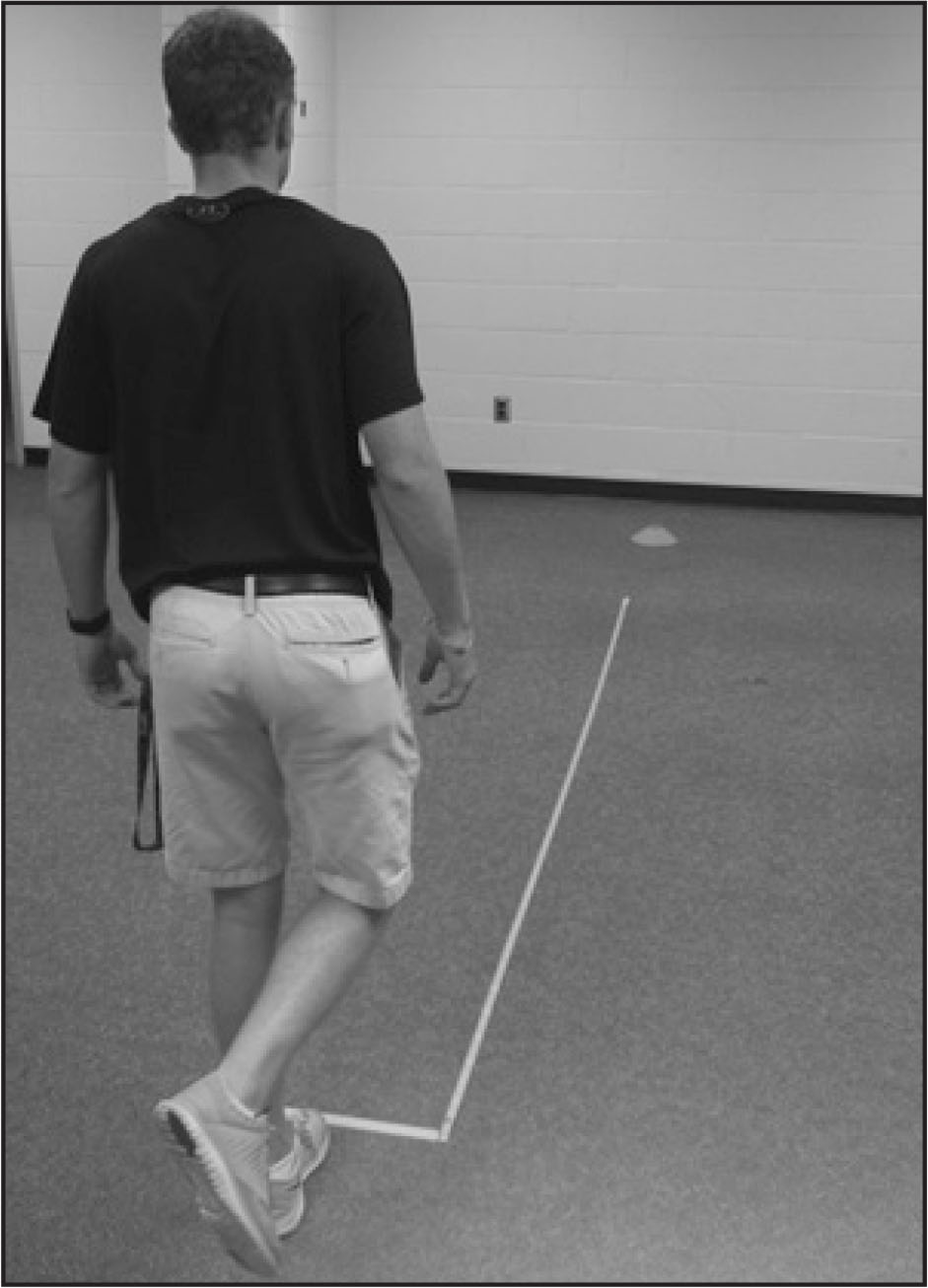 Participant completing the single-leg jump task. The orange field cone was only present during acquisition for participants in the external focus condition.