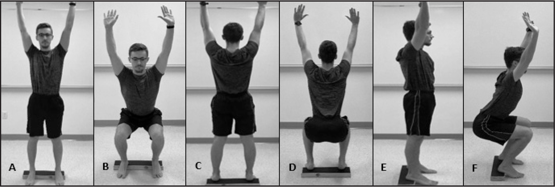 2-Leg Squat with Heel Lift sub-test: (A) start position (front view); (B) end position (front view); (C) start position (back view); (D) end position (back view); (E) start position (side view); and (F) end position (side view).