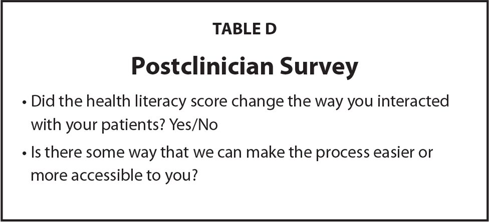 Postclinician Survey