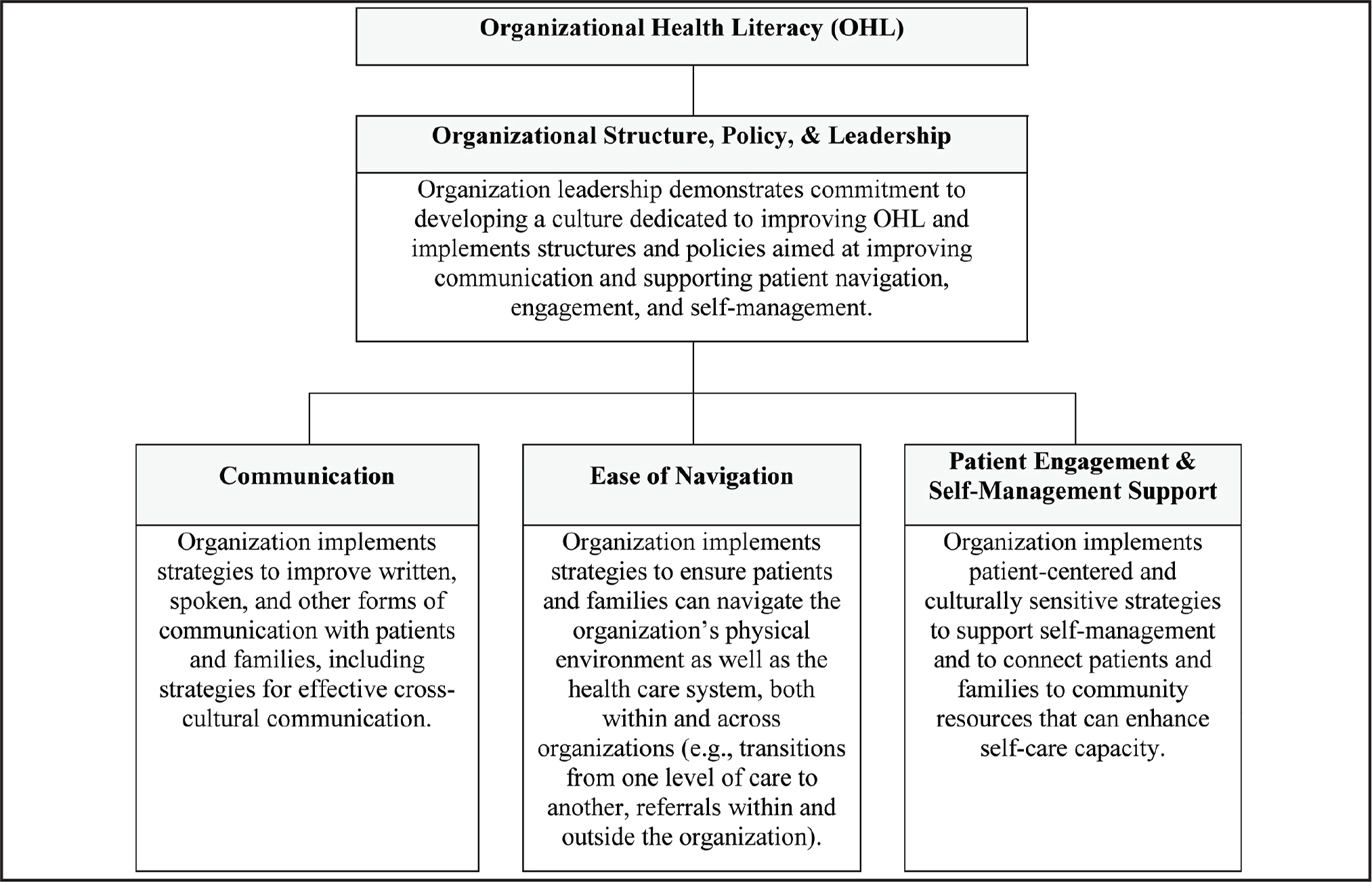 Conceptual framework of organizational health literacy.