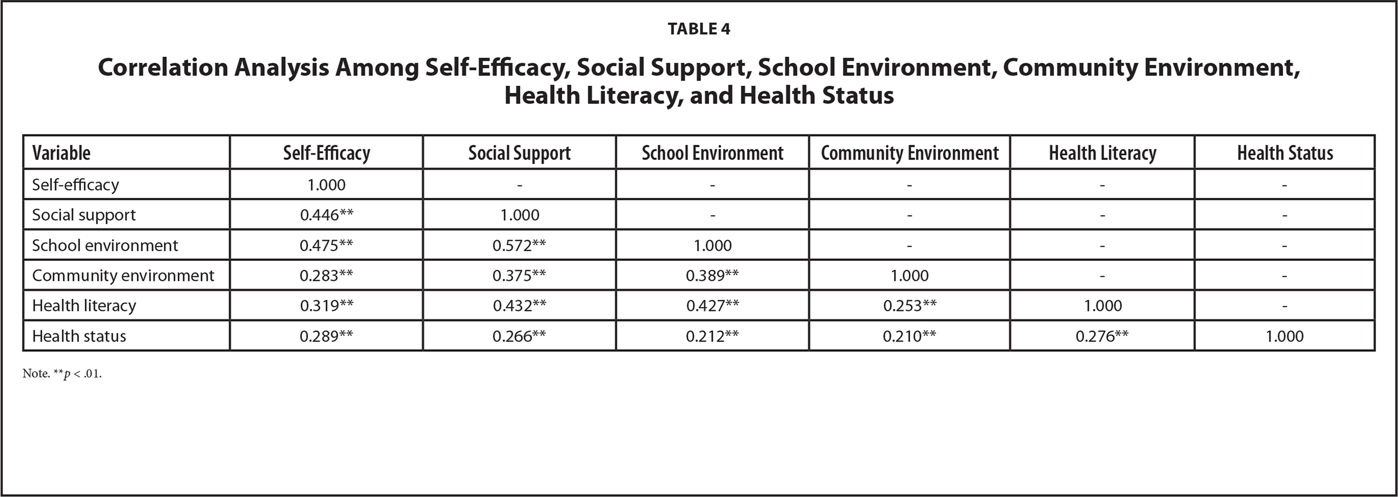 Correlation Analysis Among Self-Efficacy, Social Support, School Environment, Community Environment, Health Literacy, and Health Status