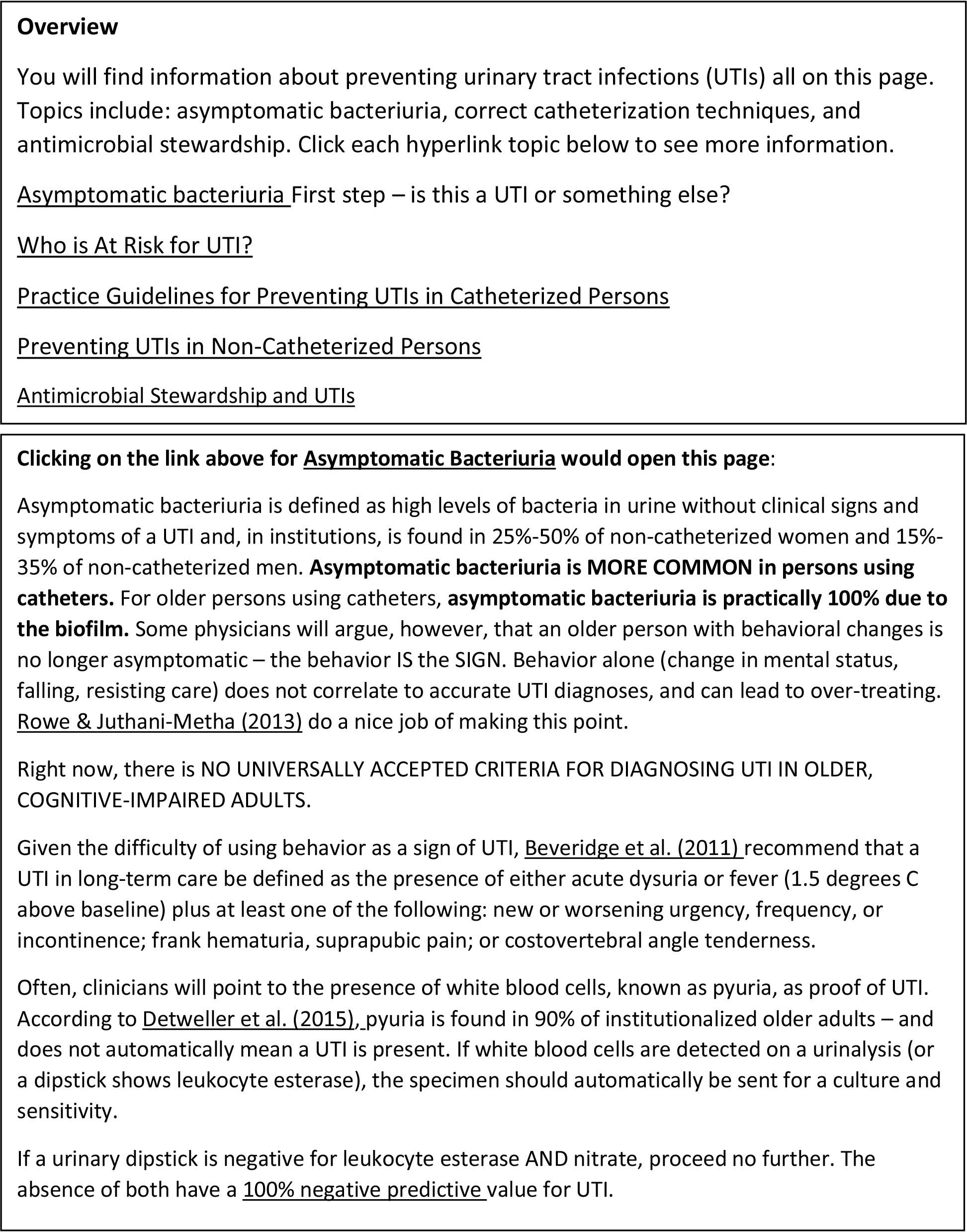 Example of Gero Central Course Module on Urinary Tract InfectionsNote: All items underlined are hyperlinks to additional resources.