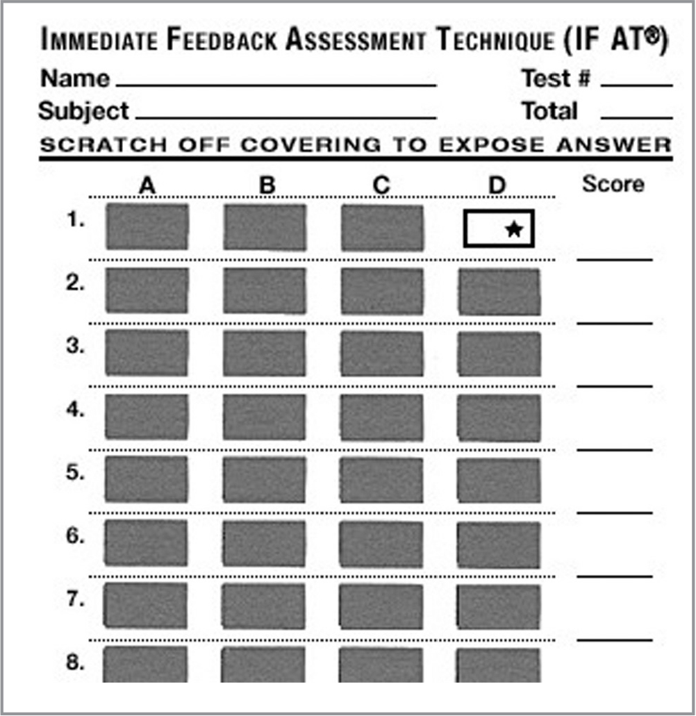 Immediate Feedback Assessment Technique (IF-AT®) tool.
