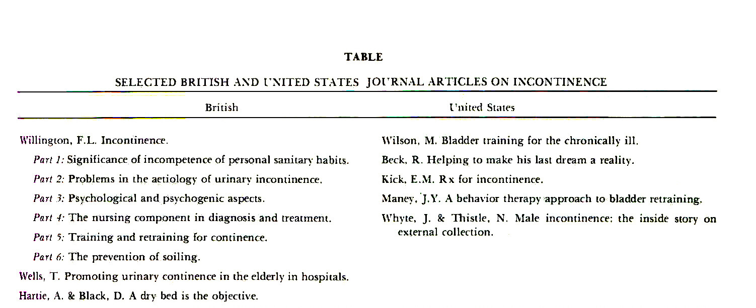 TABLESELECTED BRITISH AND UNITED STATES JOURNAL ARTICLES ON INCONTINENCE
