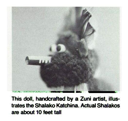 This doll, handcrafted by a Zuni artist, illustrates the Shalako Katchina. Actual Shalakos are about 10 feet tall