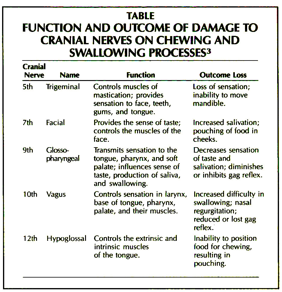 TABLEFUNCTION AND OUTCOME OF DAMAGE TO CRANIAL NERVES ON CHEWING AND SWALLOWING PROCESSES3