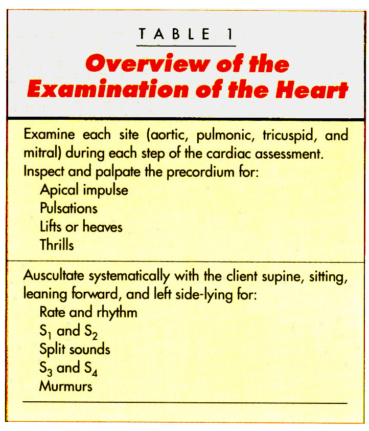 TABLE 1Overview of the Examination of the Heart