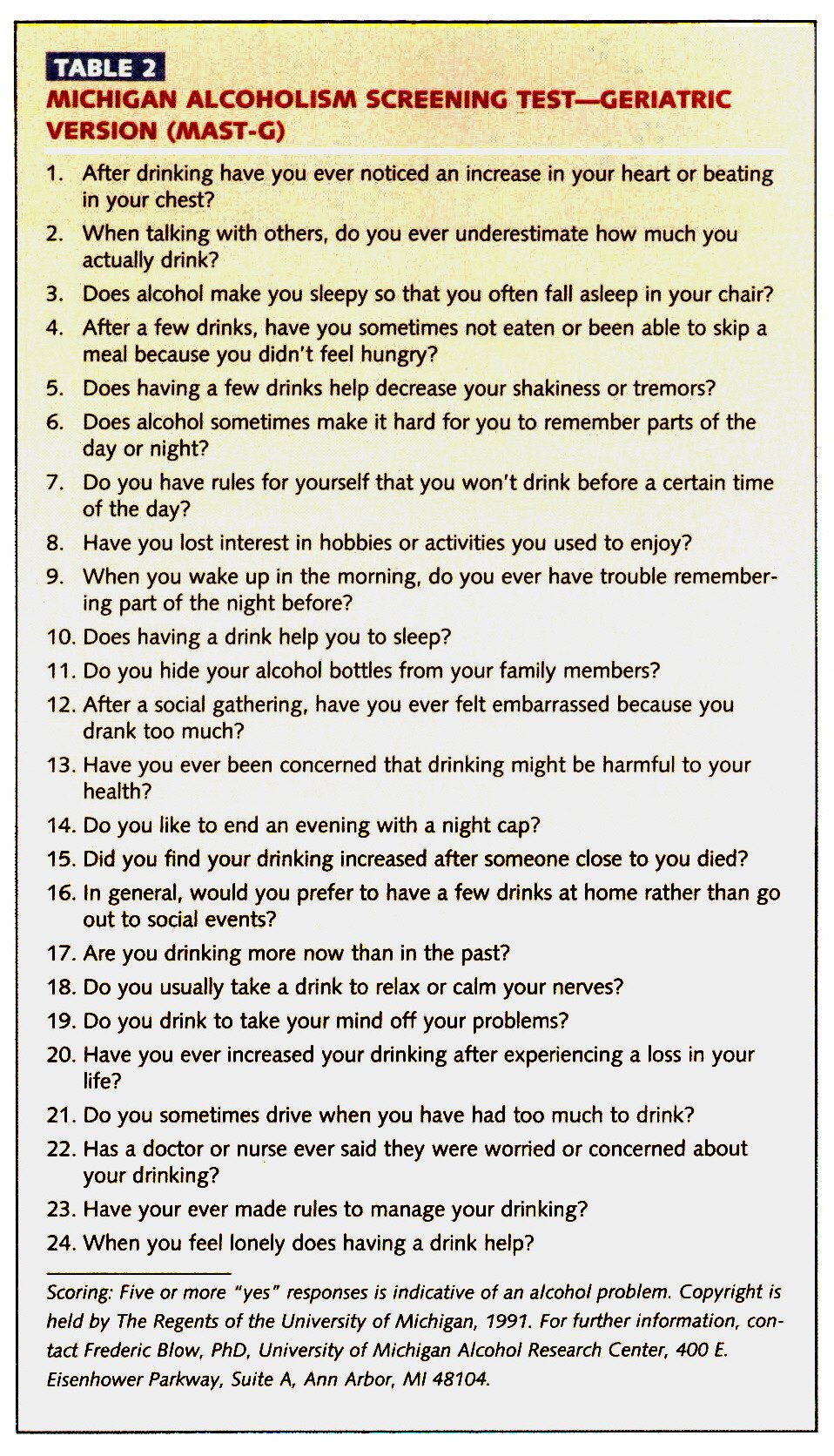 the michigan alcoholism screening test