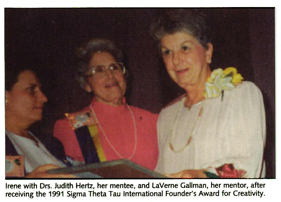 Irene with Drs. Judith Hertz, her mentee, and LaVerne Gallman, her mentor, after receiving the 1991 Sigma Theta Tau International Founder's Award for Creativity.