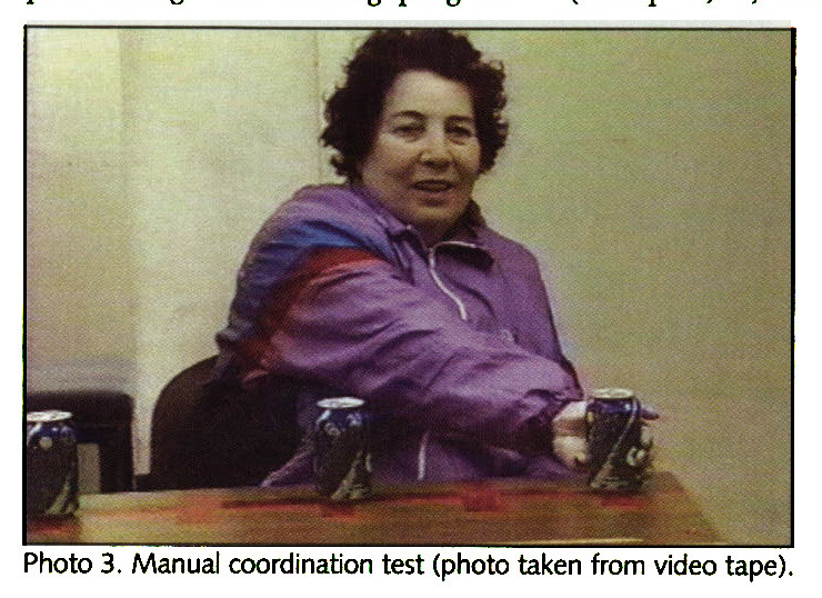 Photo 3. Manual coordination test (photo taken from video tape).