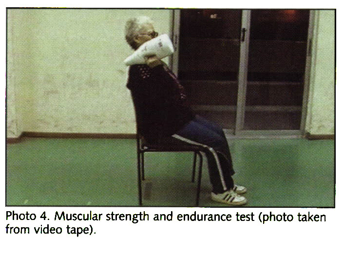 Photo 4. Muscular strength and endurance test (photo taken from video tape).
