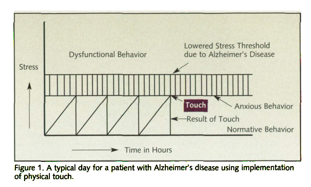 Figure 1 . A typical day for a patient with Alzheimer's disease using implementation of physical touch.