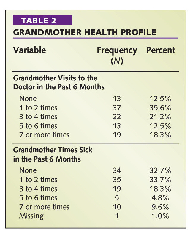 TABLE 2GRANDMOTHER HEALTH PROFILE