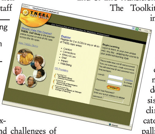 The Toolkit for Nurturing Excellence at End-of-Life Transition program Website Home Page.
