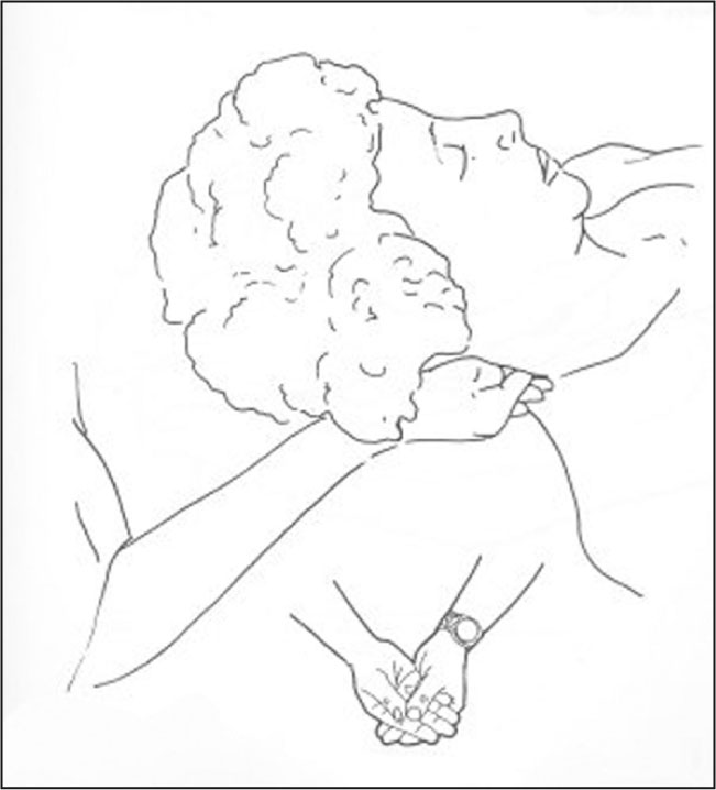 Hand position for craniosacral still point technique implementation at the head. Used with permission from the Upledger Institute, Inc. © 2007. http://www.upledger.com