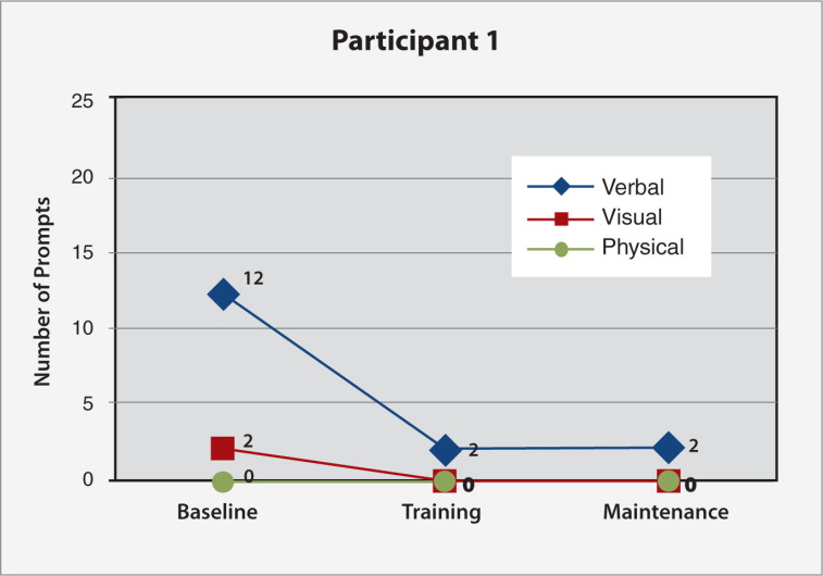 Frequency of verbal, visual, and physical prompting needed for Participant #1's task (preparing pudding; 15 subtasks) at baseline, final nurse individualized skills training (IST) and final caregiver-led IST sessions.