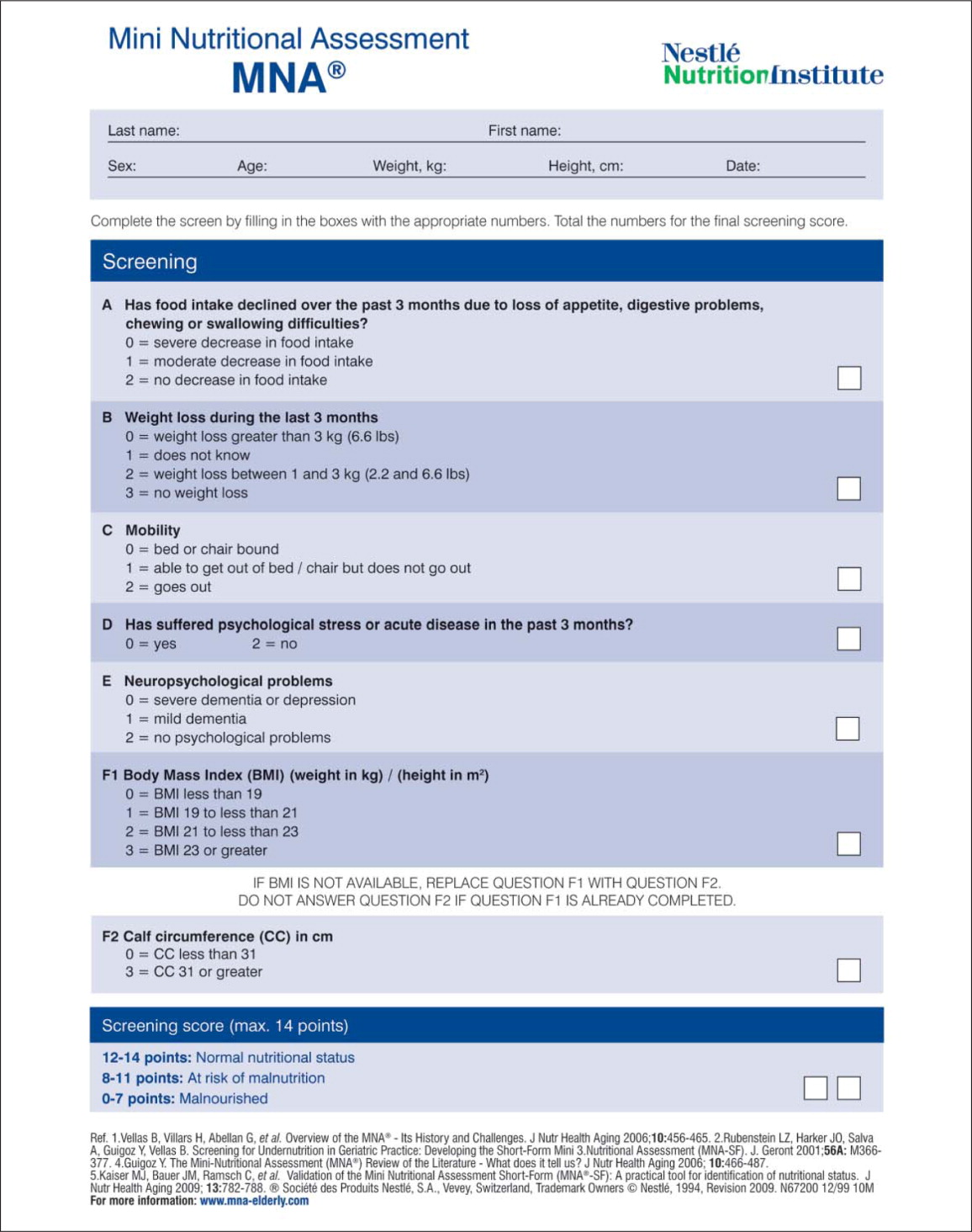 Newest Mini Nutritional Assessment®-short form (2009 version), reprinted with permission from Nestlé Nutrition Institute.