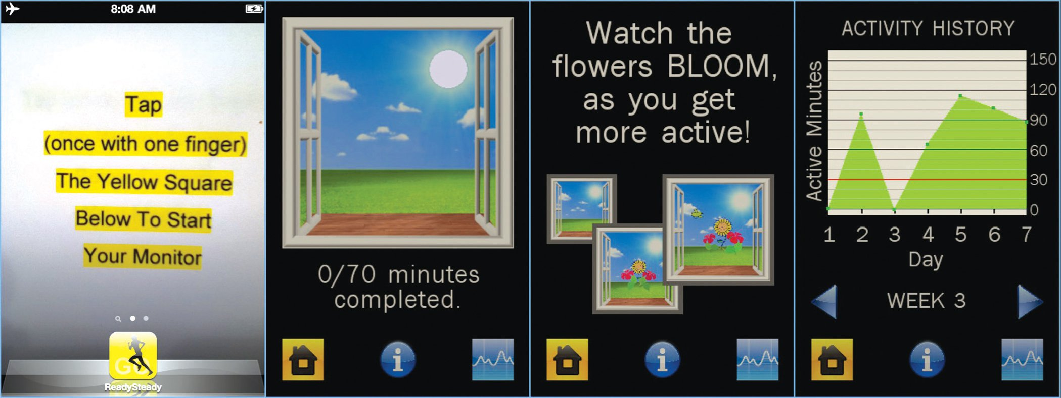 Screen displays illustrating (from left to right), wallpaper, main app, information, and activity history screens.