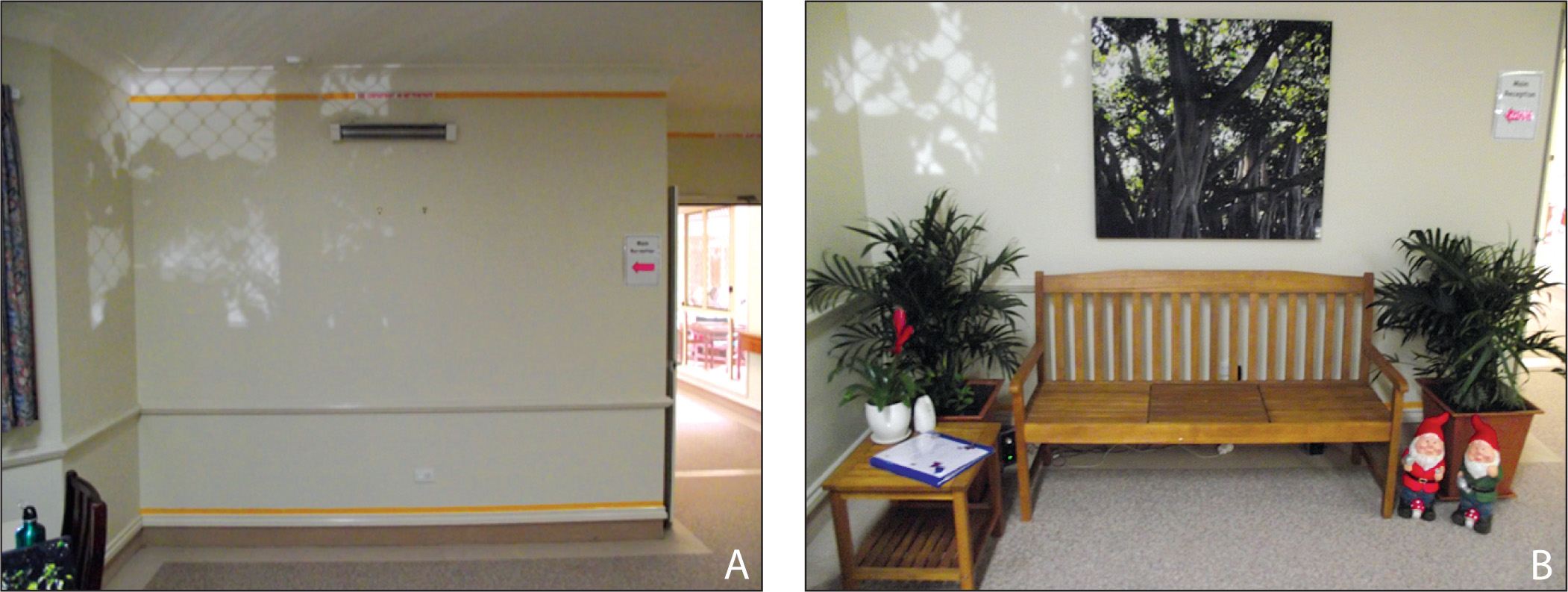 The indoor space (A) before and (B) after the multisensory biophilia installation was put in place.