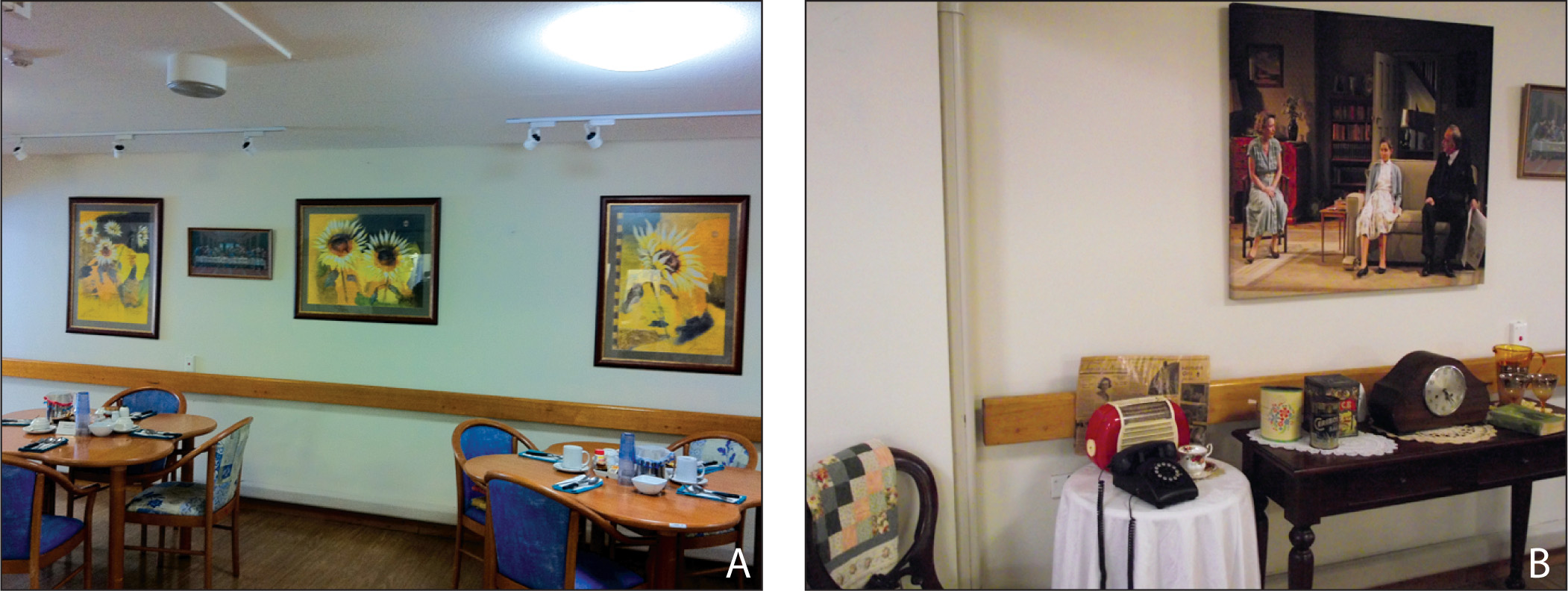 The indoor space (A) before and (B) after the multisensory reminiscence-based installation was put in place.