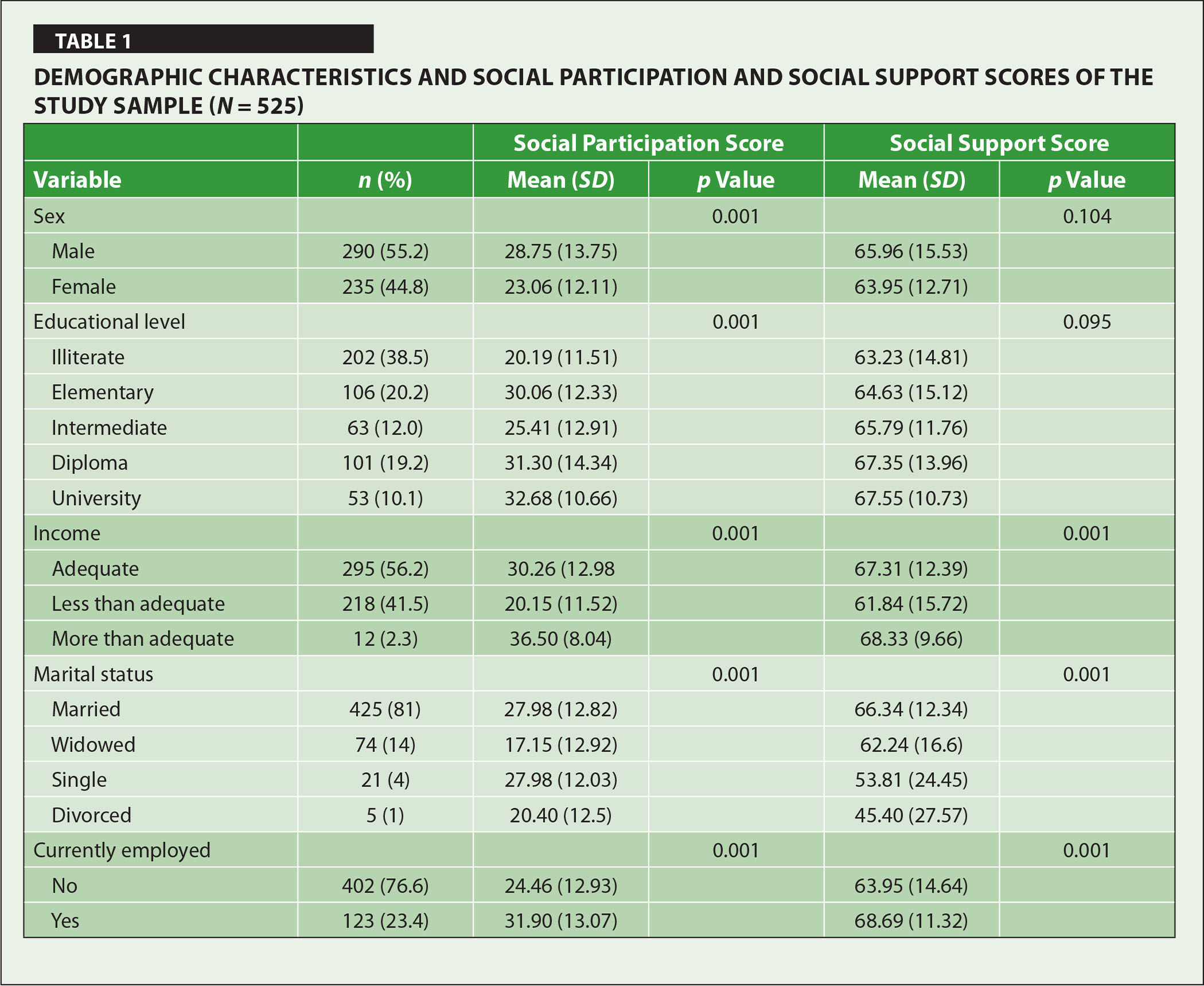 Demographic Characteristics and Social Participation and Social Support Scores of the Study Sample (N = 525)
