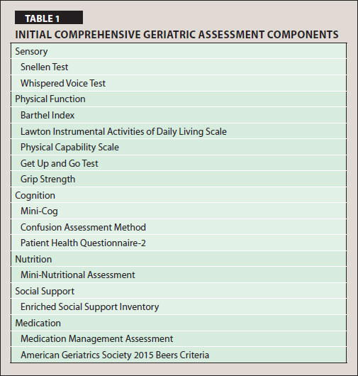 Initial Comprehensive Geriatric Assessment Components