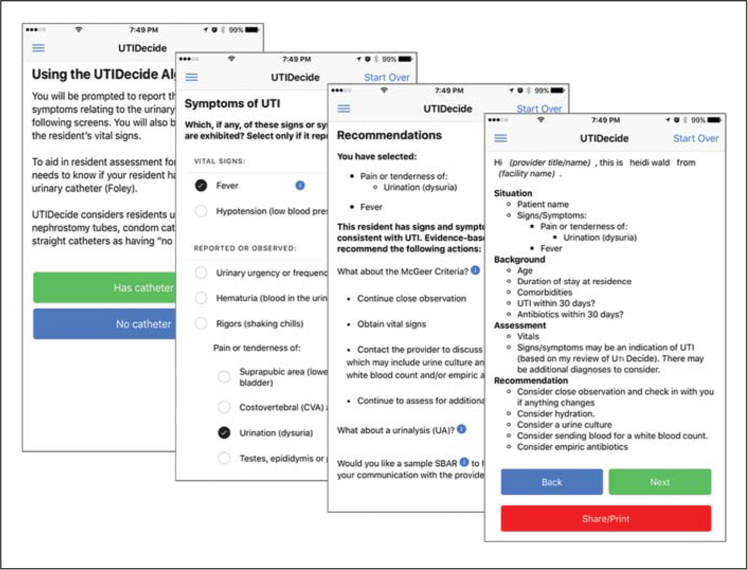 Screen captures of UTIDecide interfaces for start, symptom documentation, recommendations, and Situation, Background, Assessment, Recommendation (SBAR) screens.