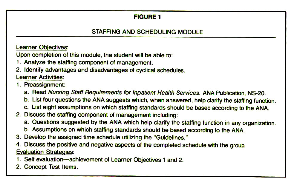 FIGURE 1STAFFING AND SCHEDULING MODULE