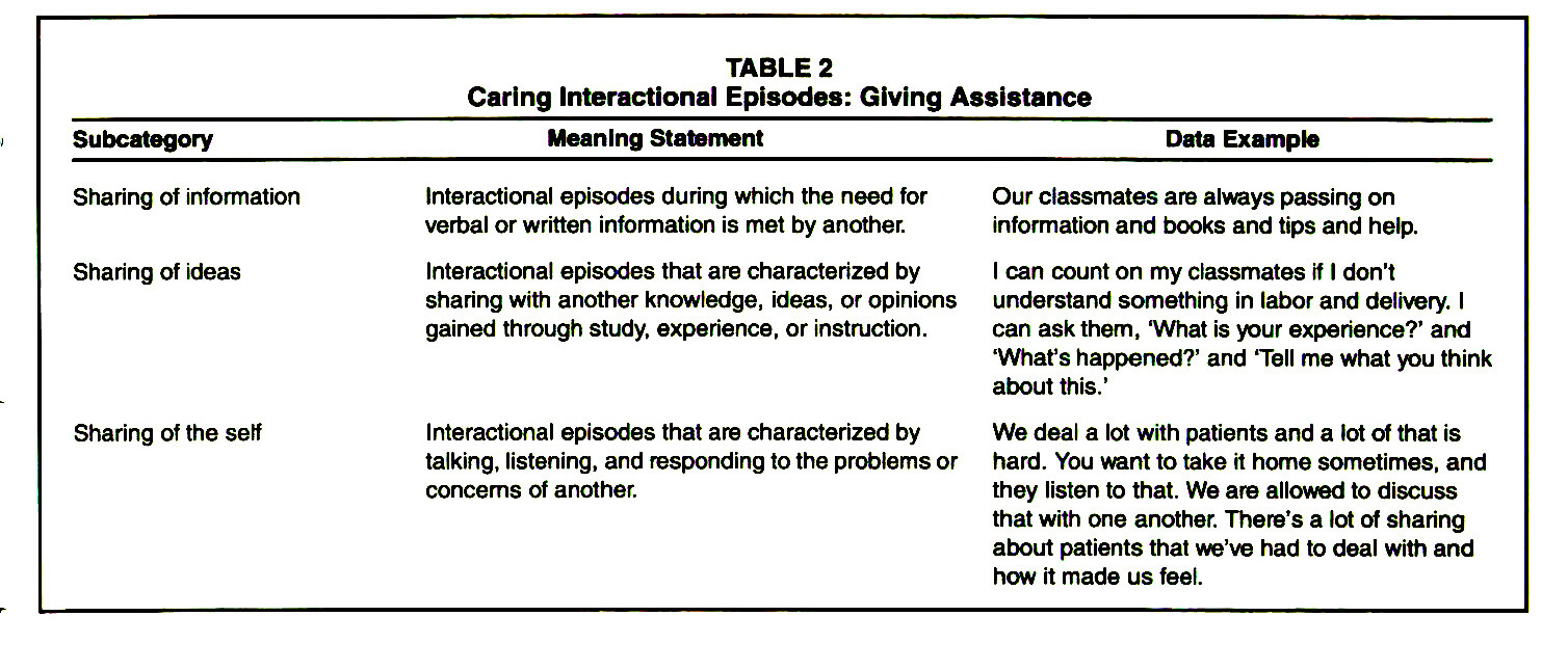 TABLE 2Caring Interactional Episodes: Giving Assistance