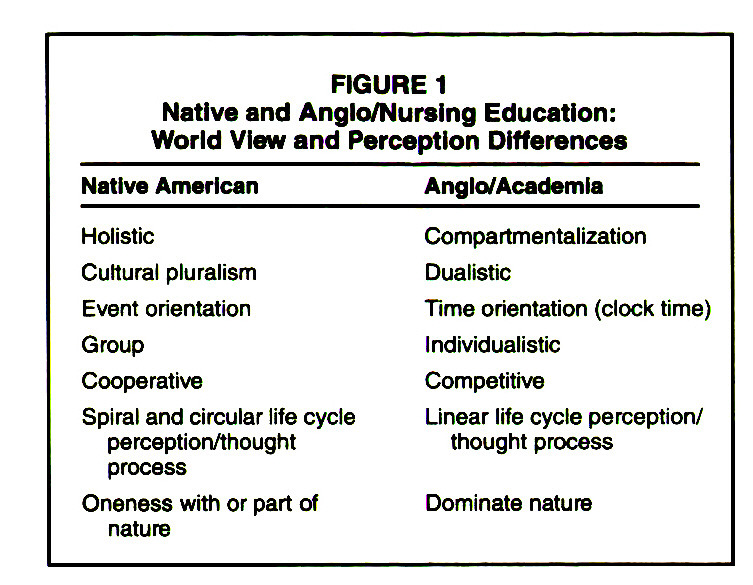FIGURE 1Native and Anglo/Nursing Education: World View and Perception Differences