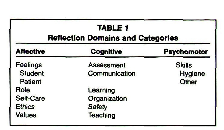 TABLE 1Reflection Domains and Categories