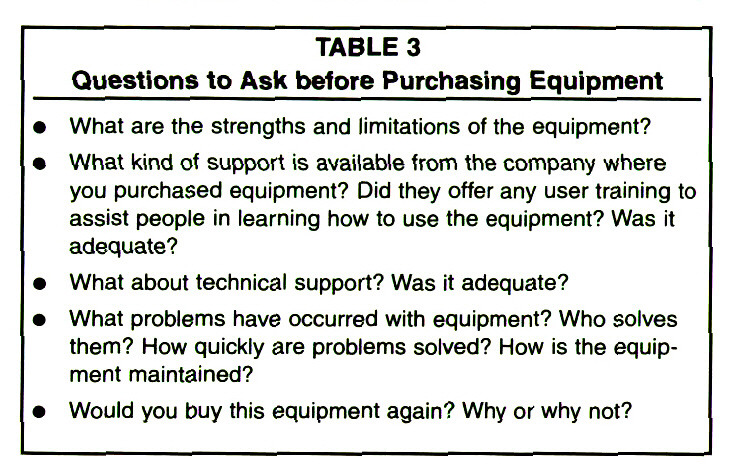 TABLE 3Questions to Ask before Purchasing Equipment