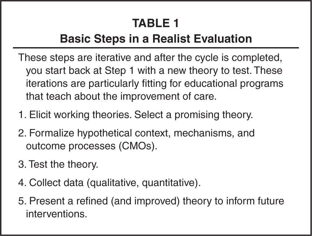 Basic Steps in a Realist Evaluation