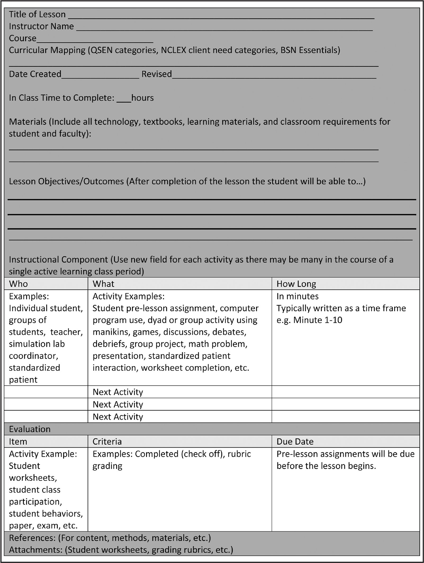 nursing lesson plan template - lesson plans road maps for the active learning classroom
