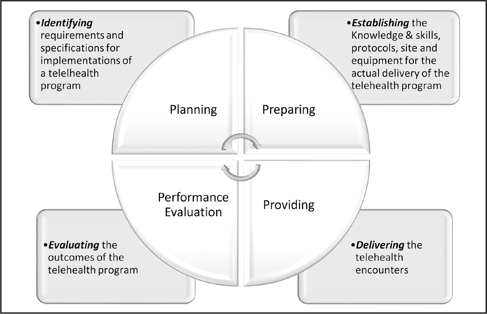 The four Ps of telehealth: planning, preparing, providing, and performance evaluation.