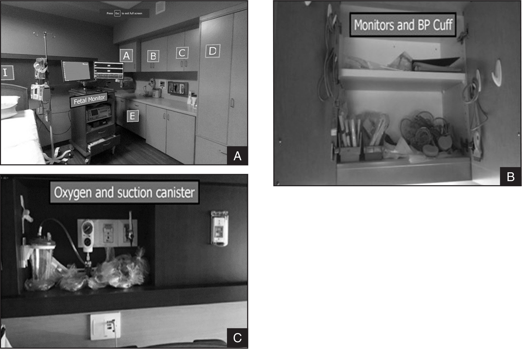 Example of a view of the interactive AR 360° photosphere (A). The student actively navigates the room, and when labeled items are clicked on, the area will open. In the photograph, when cabinet C is opened, the monitoring equipment needed in the clinical area is found (B). When cabinet I behind the bed is opened, the student is able to view respiratory equipment (C).