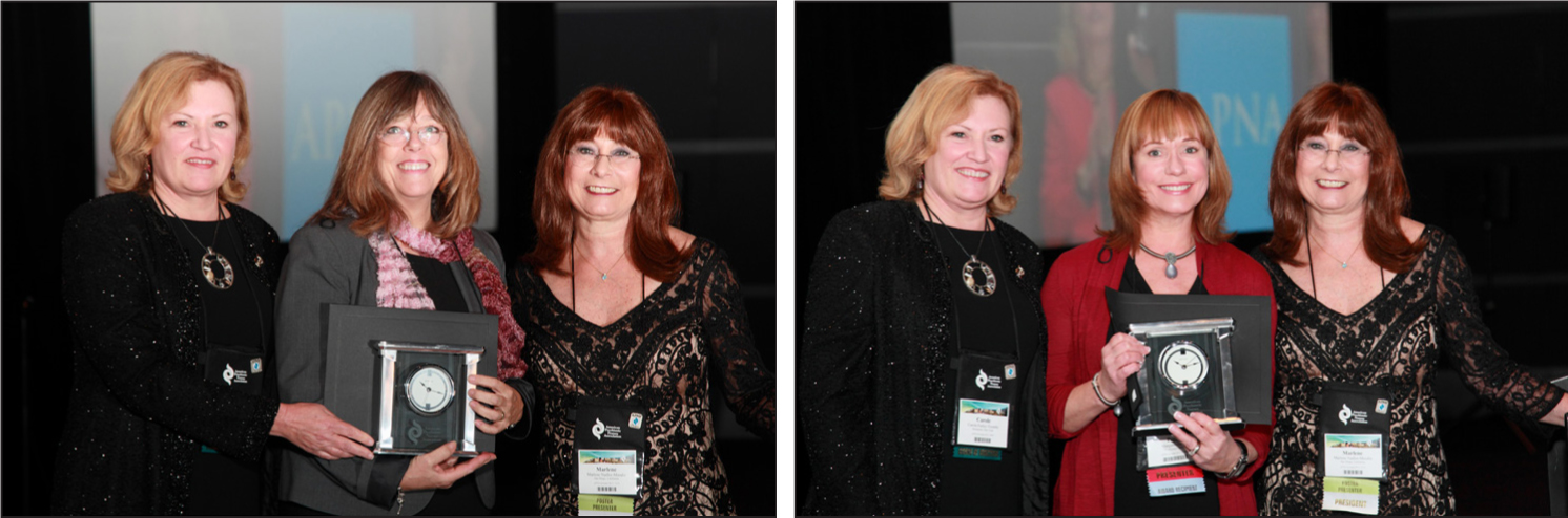 JPN reviewer Brenda Marshall (left image), and editorial board member Margaret (Peggy) Halter (right image), receive their respective awards at the American Psychiatric Nurses Association's (APNA) annual conference in Pittsburgh. APNA President Marlene Nadler-Moodie (right) and APNA Immediate Past President Carole Farley-Toombs (left) join them. Photos courtesy of APNA.