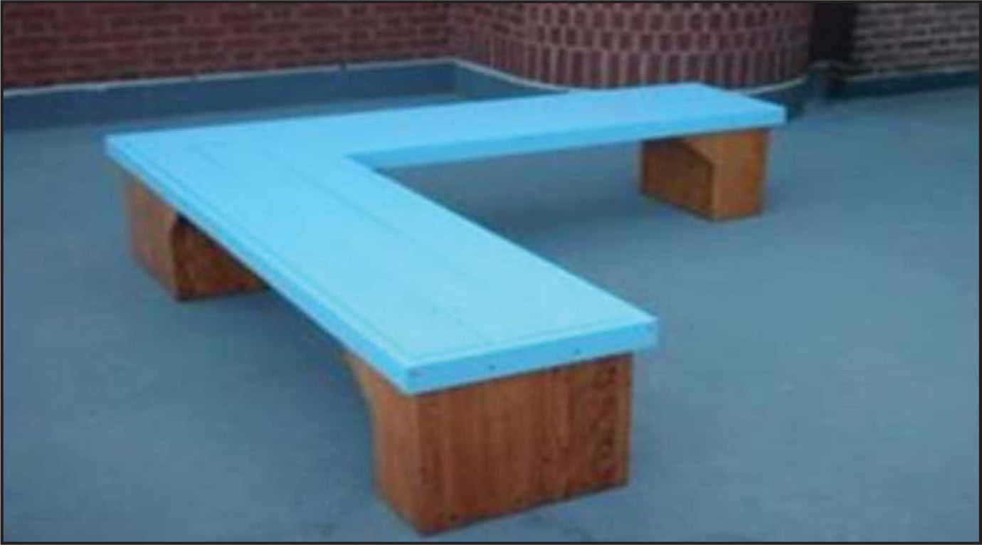 """The """"healing bench,"""" built from the wood of mechanical restraint beds used in the past, serves as a reminder to children, families, and staff that mechanical restraint is no longer used at the Albert J. Solnit Children's Center."""