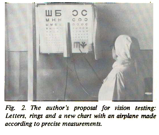 Fig; 2. The author's proposal for vision testing: Letters, rings and a new chart with an airplane made according to precise measurements.