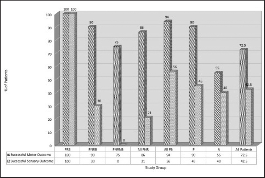 Sensory and motor success rates at 3 months postoperatively. PRB = prism responders; PNRB = prism non-responders; PB = prism build-up; P = prism adaptation group; A = augmented surgery group