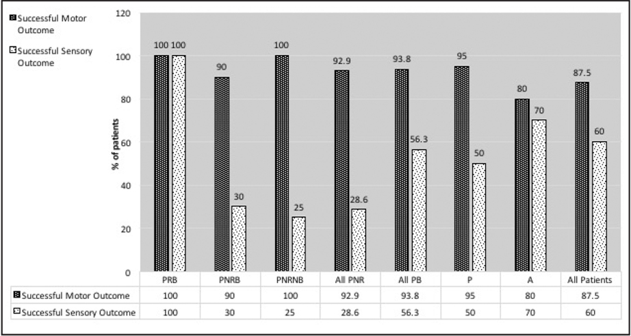 Sensory and motor success rates at 6 months postoperatively. PRB = prism responders; PNRB = prism non-responders; PB = prism build-up; P = prism adaptation group; A = augmented surgery group