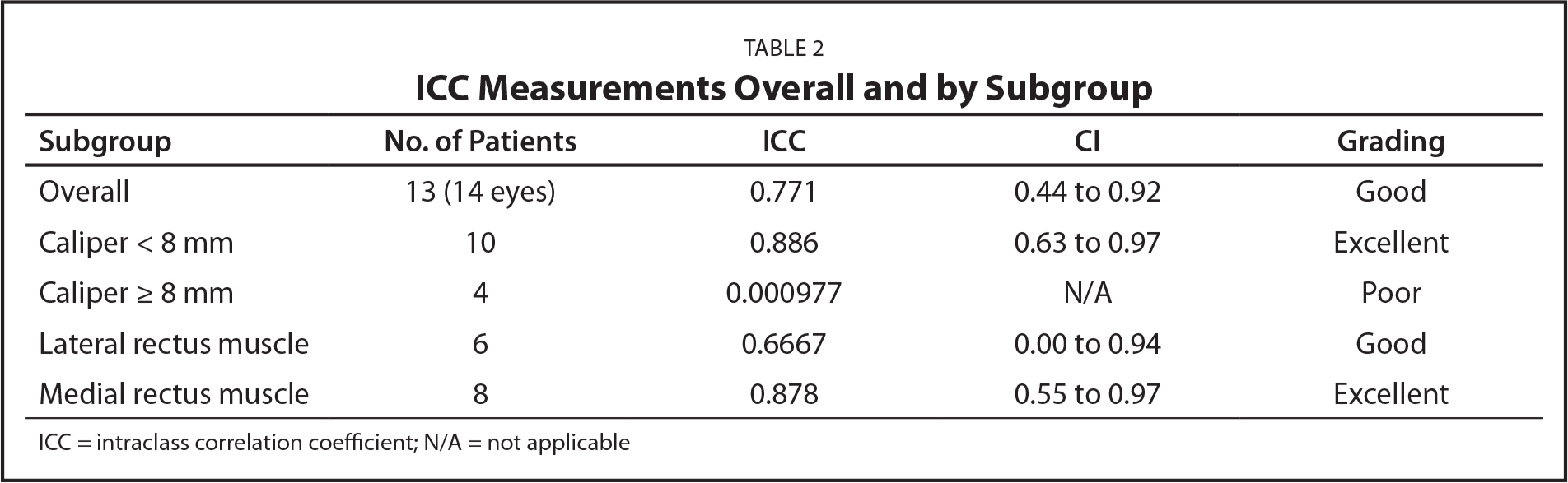 ICC Measurements Overall and by Subgroup
