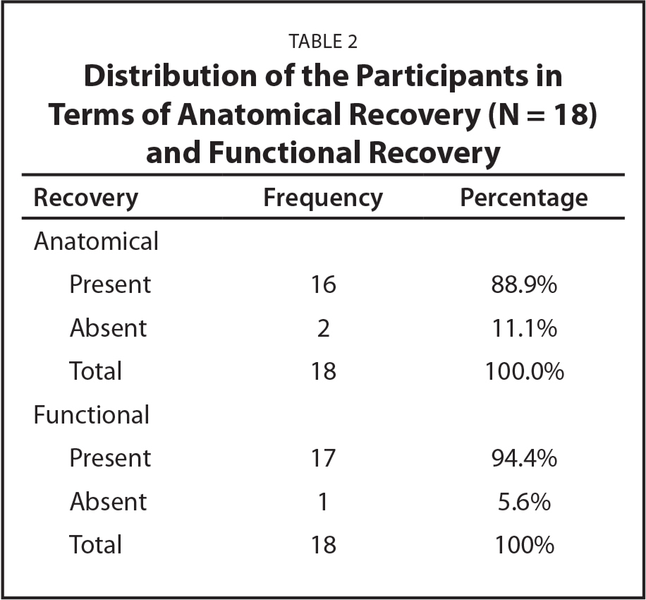 Distribution of the Participants in Terms of Anatomical Recovery (N = 18) and Functional Recovery